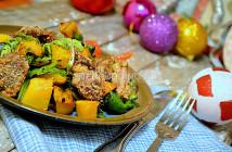 Салат из куриной печенки и печеной тыквы