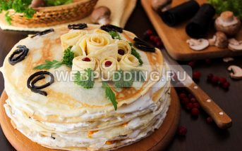 Торт с курицей и грибами с фото