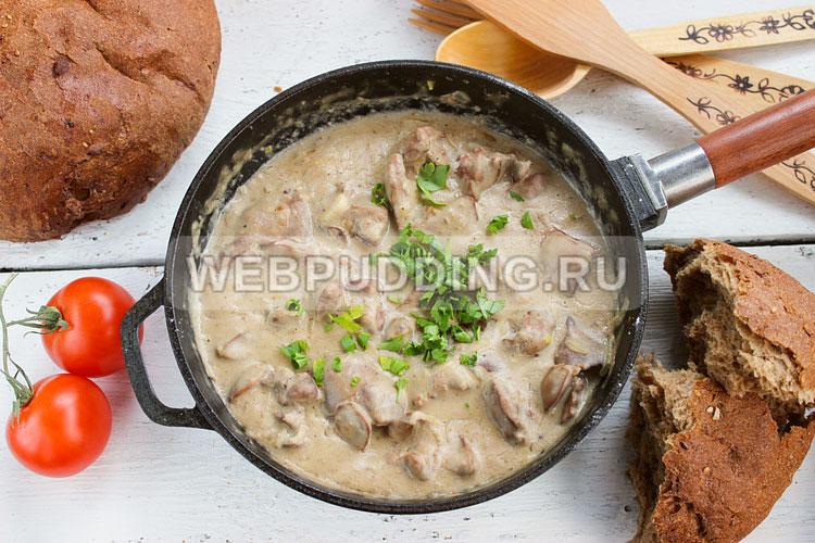 Рецепт печени куриной в сметане на сковороде рецепт с пошагово