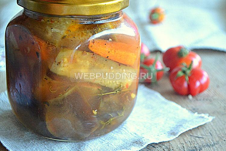 Баклажаны маринованные с овощами в медовом маринаде