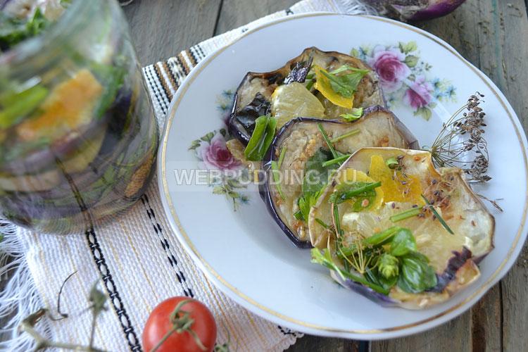 Баклажаны в масле с лимоном и зеленью на зиму