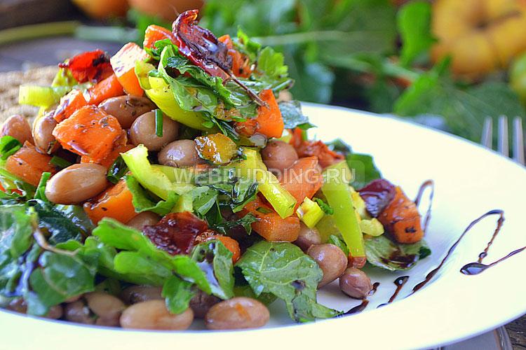 Салат с тыквой, фасолью, болгарским перцем