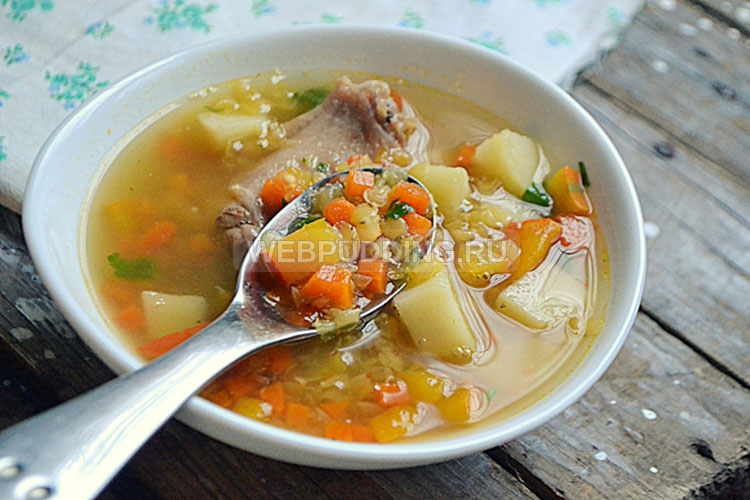 Чечевичный суп на курином бульоне