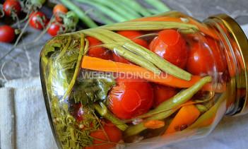 Маринованные томаты черри со стручковой фасолью на зиму