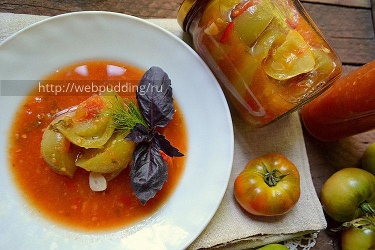 Зелёные помидоры в сливово-томатном соусе на зиму