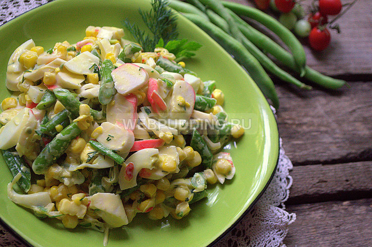 Тёплый салат из спаржевой фасоли