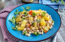 Тёплый салат из тыквы и фасоли