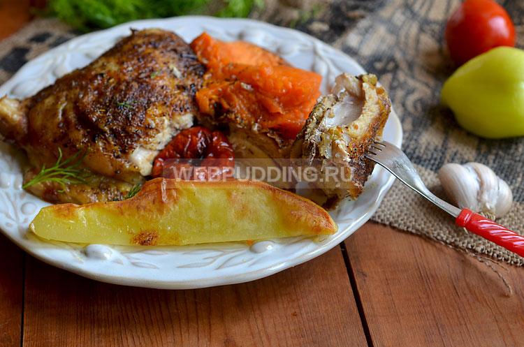 Окорочок, запечённый в духовке с овощами