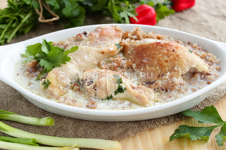 Гречка с курицей в сливочном соусе