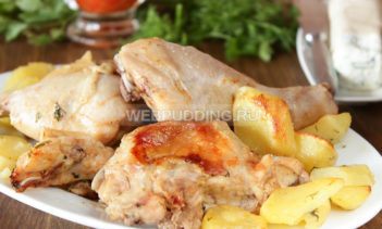 Курица частями в духовке с картошкой