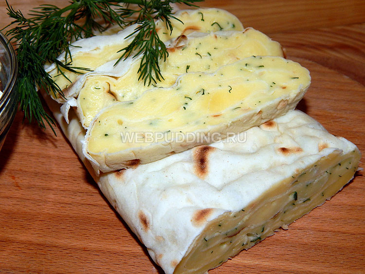 Плавленый сыр с укропом в лаваше