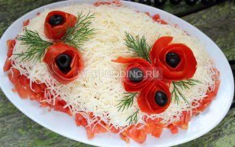 Салат из курицы с помидорами и сыром