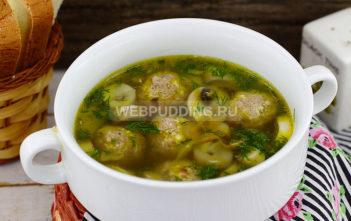 Суп грибной с мясными фрикадельками