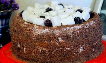 Бисквитный торт с медом и маршмеллоу