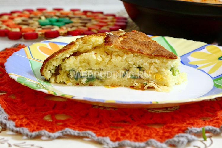 Наливной пирог с яйцом и зелёным луком