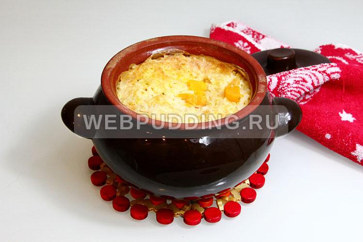 Пшённо - рисовая каша с тыквой в горшочке