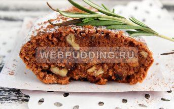 Шоколадный кекс с орехами и изюмом (веганский)