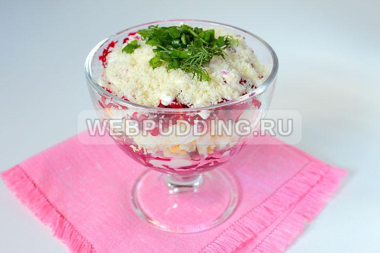 Салат из свеклы с яйцом и сыром