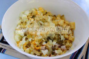 salat s kopchenoj kuricej i ogurcami 4