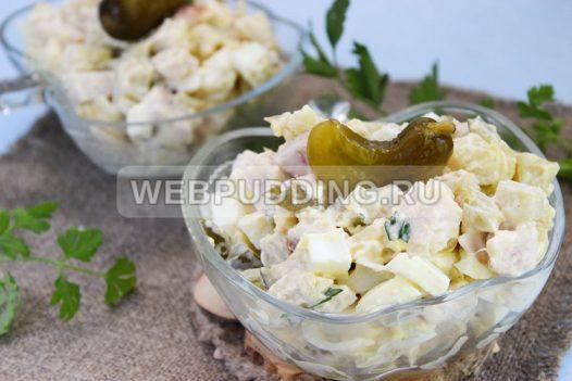 salat s kopchenoj kuricej i ogurcami 7