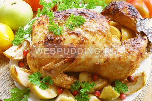 Курица с яблоками в духовке целиком 13