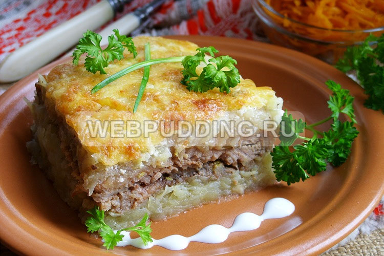 Мясо под шубой с картофелем
