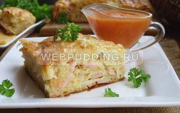 Пирог с сосисками и сыром